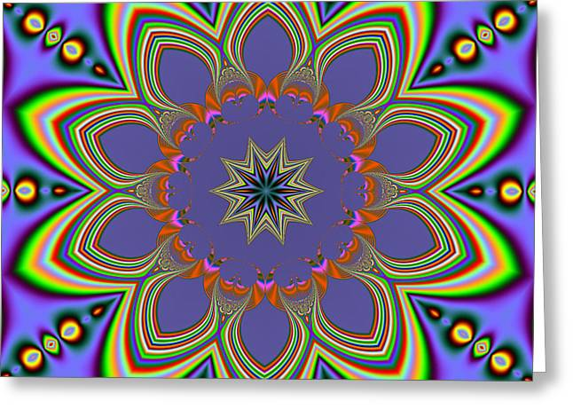 Fractalscope Flower 10 In Yellow Blue And Orange Greeting Card
