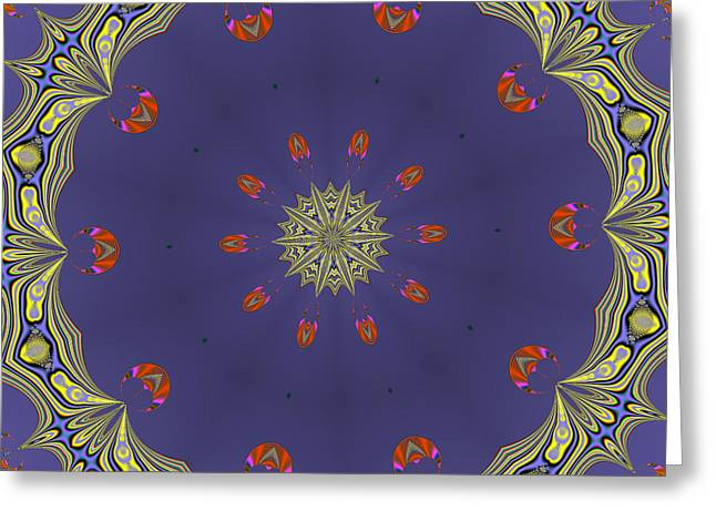 Fractalscope Flower 8 In Yellow Blue And Orange Greeting Card
