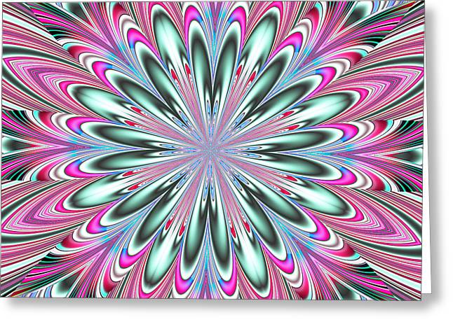 Fractalscope Flower In Pink Blue Green And White Greeting Card