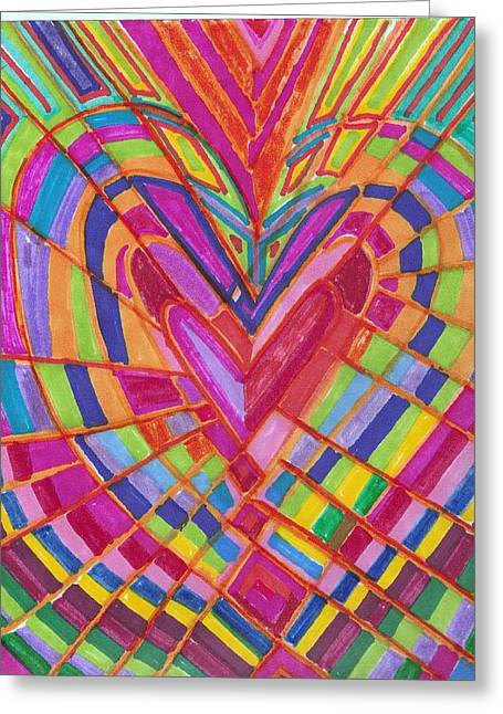 Fractured Heart Greeting Card by Brenda Adams