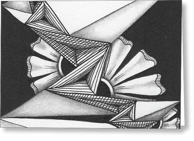 Greeting Card featuring the drawing Fractured by Jan Steinle