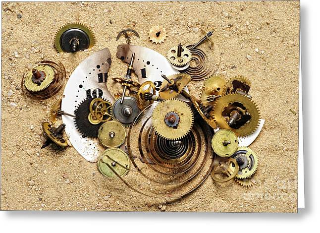 Fragmented Clockwork In The Sand Greeting Card by Michal Boubin