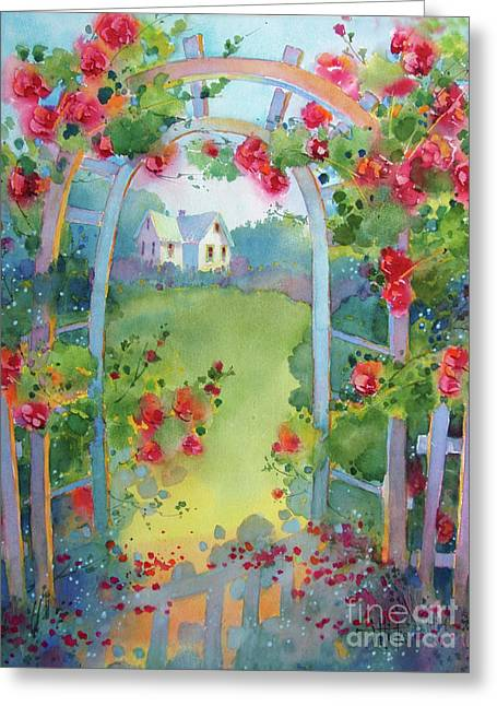 Framed By The Roses Greeting Card