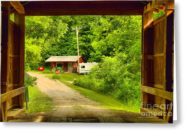 Framed By The Wilkins Mill Covered Bridge Greeting Card