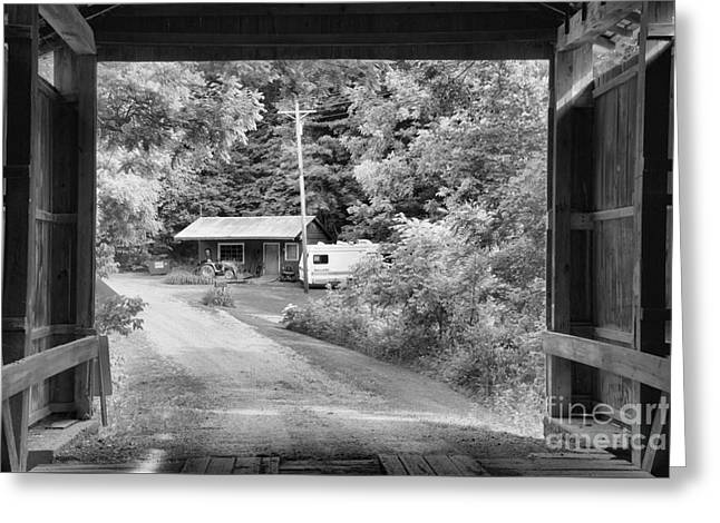 Framed By The Wilkins Mill Covered Bridge Black And White Greeting Card