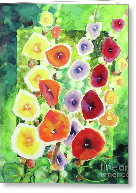 Greeting Card featuring the painting Framed In Hollyhocks by Kathy Braud