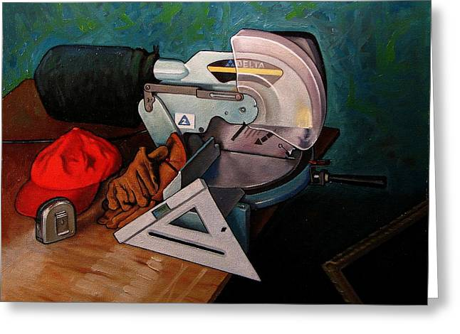 Work Bench Greeting Cards - Framers Tools Greeting Card by Doug Strickland