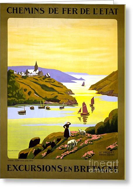 France Bretagne Vintage Travel Poster Restored Greeting Card