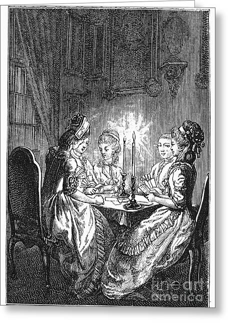 18th Century Greeting Cards - France: Card Players Greeting Card by Granger