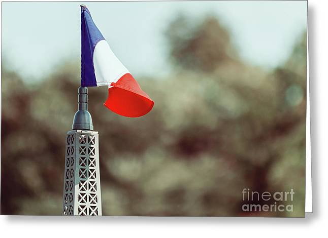 France Flag Close Up On Sunny Day Greeting Card