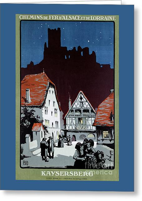 France Kaysersberg Restored Vintage Travel Poster Greeting Card by Carsten Reisinger