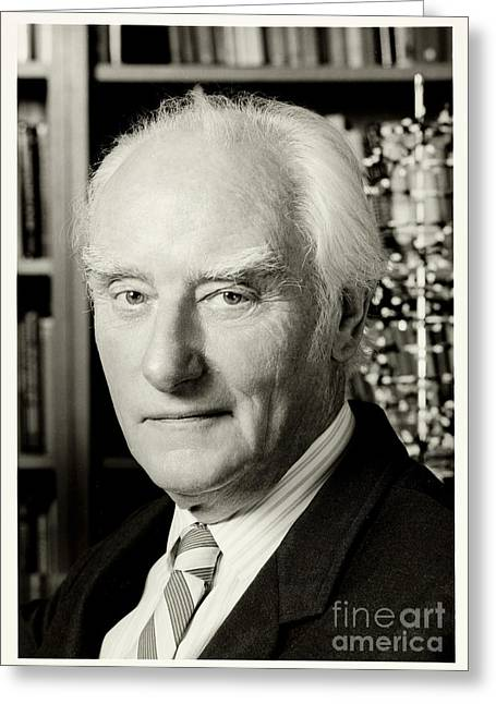 Francis Crick With Model Of Dna, 1995 Greeting Card by Wellcome Images