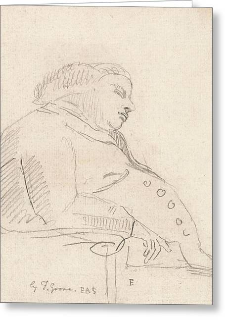 Francis Grose Asleep In A Chair Greeting Card by Paul Sandby