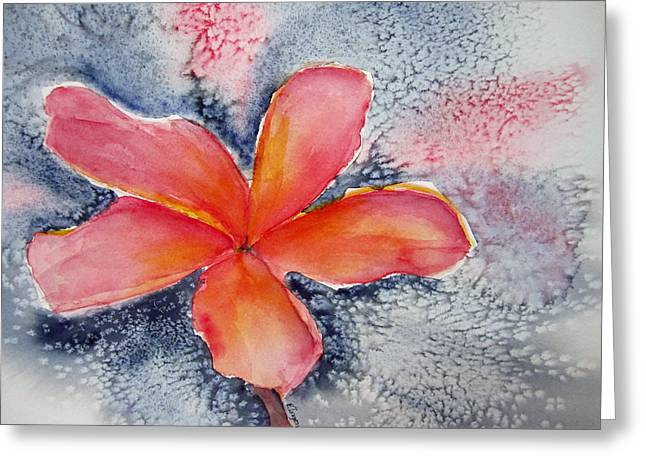 Frangipani Blue Greeting Card
