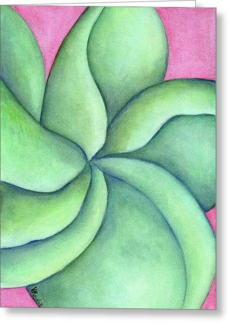 Frangipani Green Greeting Card by Versel Reid