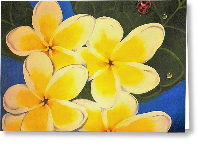 Frangipani With Lady Bug Greeting Card by Sandra Phryce-Jones