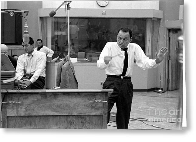 Frank Sinatra And Dean Martin At Capitol Records Studios 1958 Greeting Card by The Titanic Project