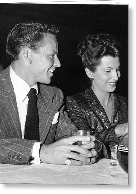 Frank Sinatra And Nancy Greeting Card by Underwood Archives