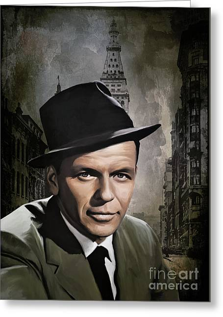 Greeting Card featuring the painting  Frank Sinatra by Andrzej Szczerski