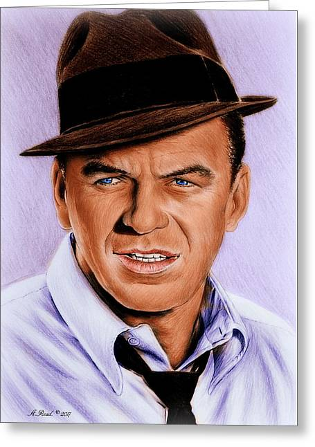 Frank Sinatra Blue Edit Greeting Card by Andrew Read