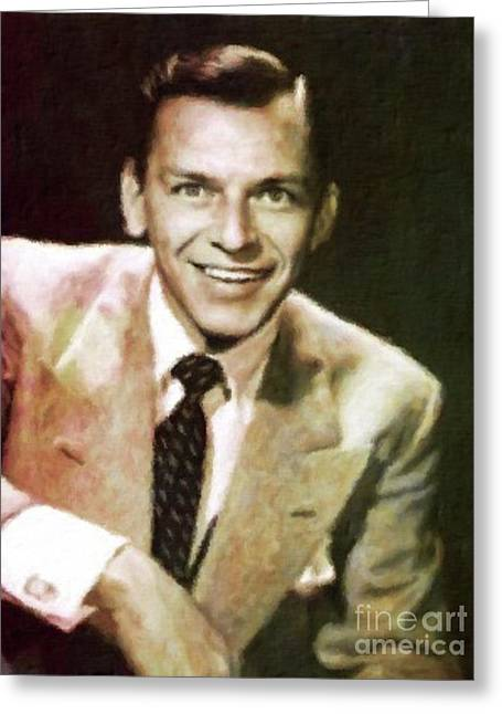 Frank Sinatra, Hollywood Legend By Mary Bassett Greeting Card by Mary Bassett