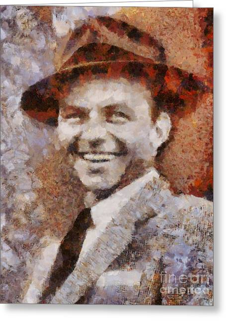 Frank Sinatra Hollywood Singer And Actor Greeting Card by Sarah Kirk