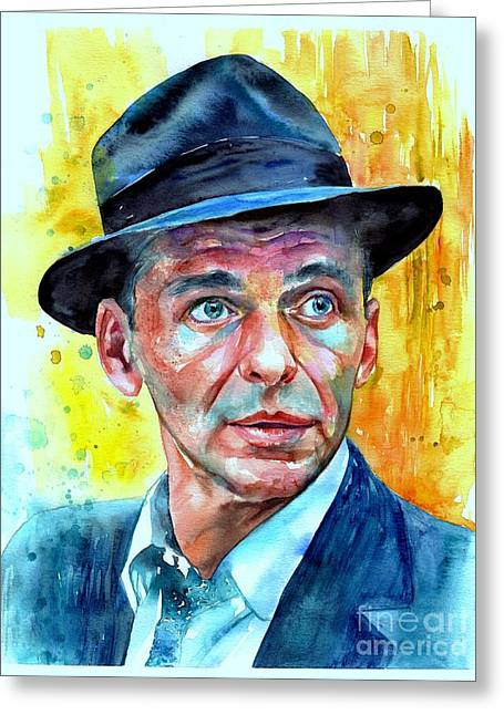 Frank Sinatra In Blue Fedora Greeting Card