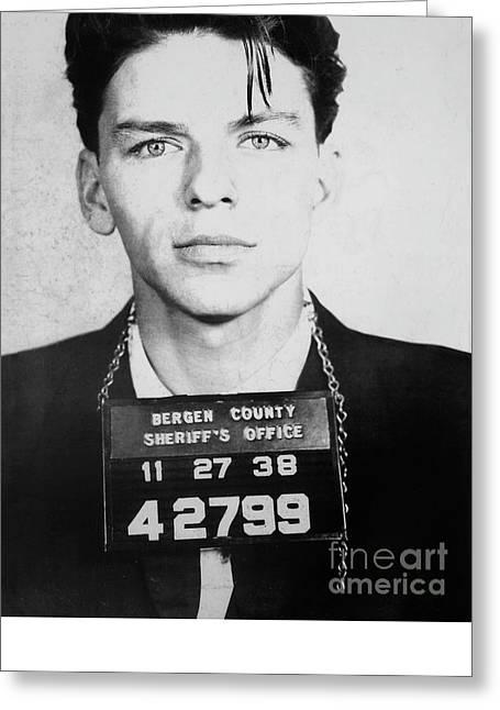 Frank Sinatra Mugshot Greeting Card by Jon Neidert