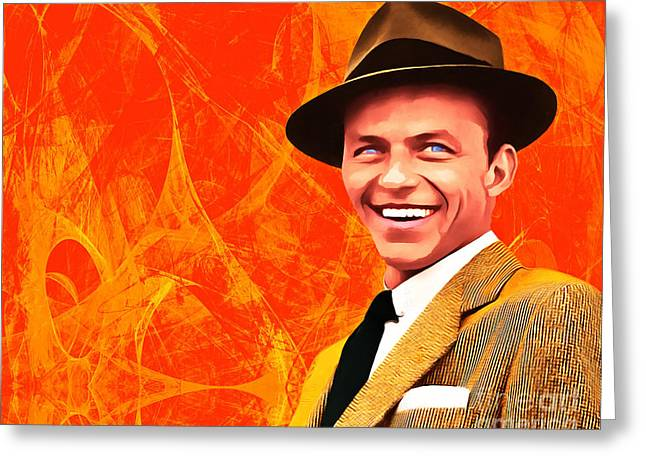 Frank Sinatra Old Blue Eyes 20160922hor Greeting Card by Wingsdomain Art and Photography