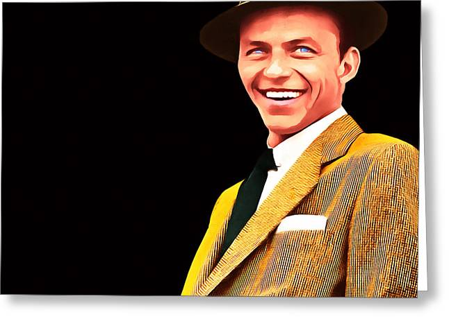 Frank Sinatra Old Blue Eyes 20160922v2 Square Greeting Card by Wingsdomain Art and Photography