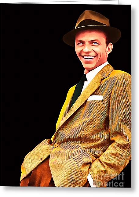 Frank Sinatra Old Blue Eyes 20160922v2 Greeting Card by Wingsdomain Art and Photography