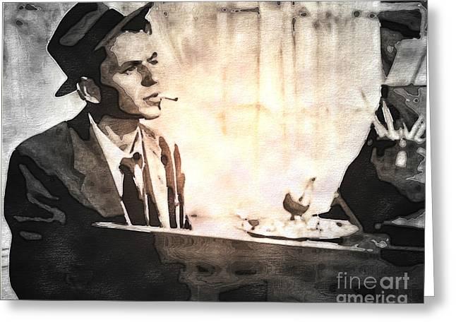 Frank Sinatra - Vintage Painting Greeting Card