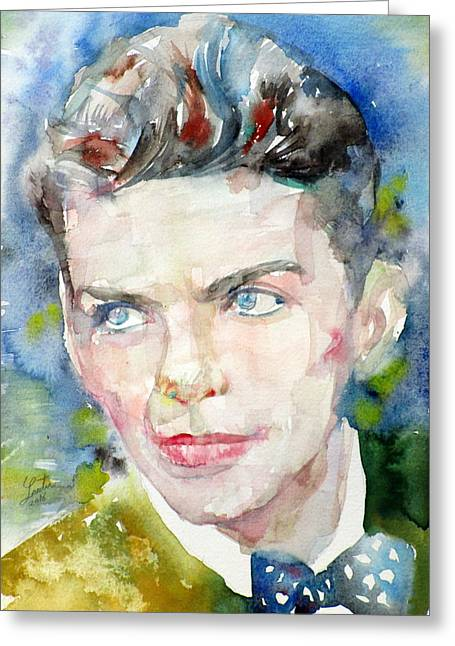 Frank Sinatra - Watercolor Portrait.8 Greeting Card by Fabrizio Cassetta