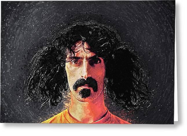 Frank Zappa Greeting Card by Taylan Apukovska