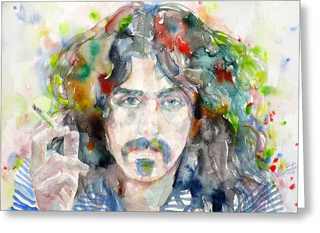 Frank Zappa - Watercolor Portrait.8 Greeting Card