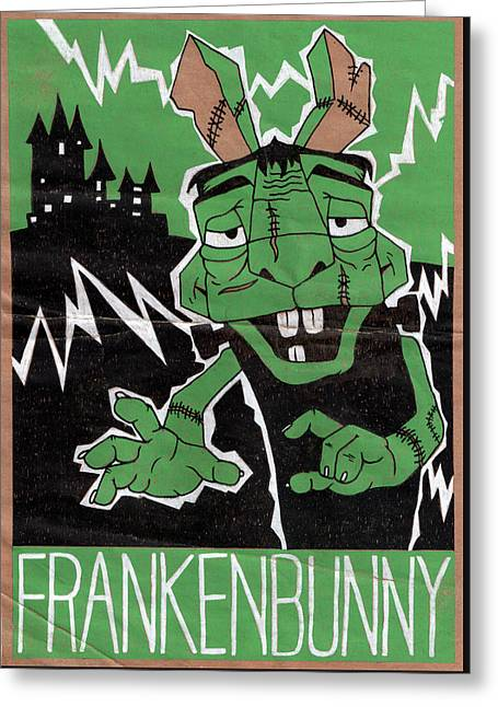 Frankenbunny Greeting Card by Bizarre Bunny