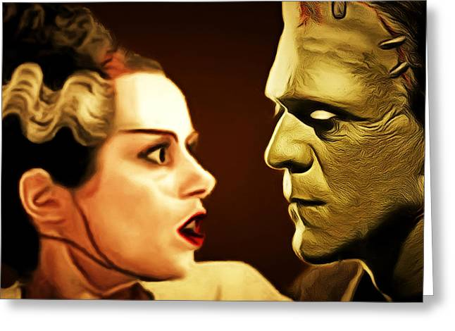 Frankenstein And The Bride I Have Love In Me The Likes Of Which You Can Scarcely Imagine 20170407 Sq Greeting Card