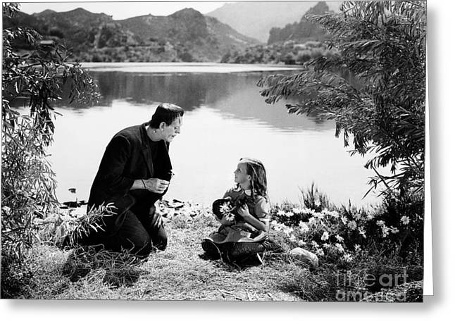 Frankenstein By The Lake With Little Girl Boris Karoff Greeting Card by R Muirhead Art