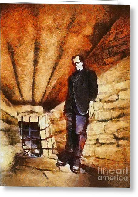 Frankenstein, Classic Vintage Horror Greeting Card by Esoterica Art Agency