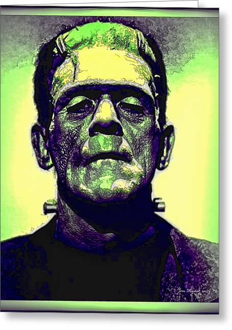Horror Film Greeting Cards - Frankenstein in Color Greeting Card by Joan  Minchak