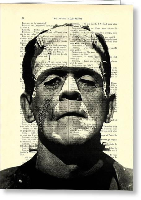 Frankenstein On Dictionary Page Greeting Card