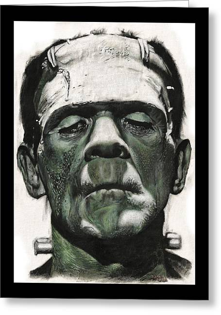Frankenstein Portrait Greeting Card by Daniel Ayala