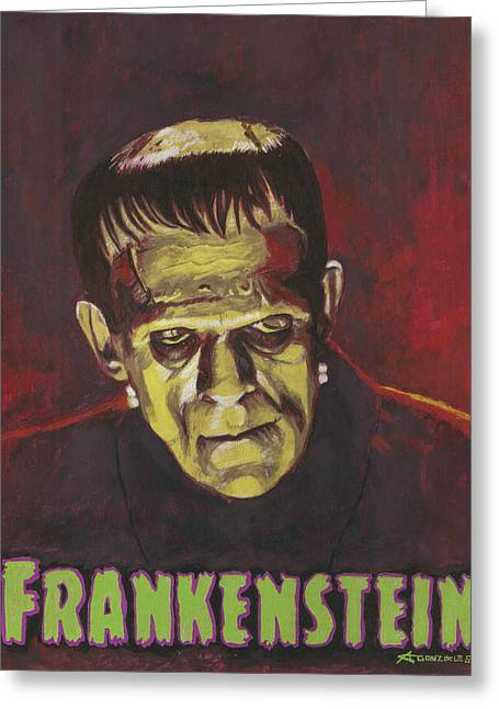 Frankenstein 1931 Boris Karloff In Color With Text Logo Greeting Card by Aljohn Gonzales