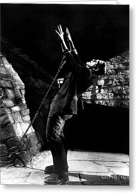 Frankensteins Monster Chained The Castle Played By Boris Karloff Greeting Card
