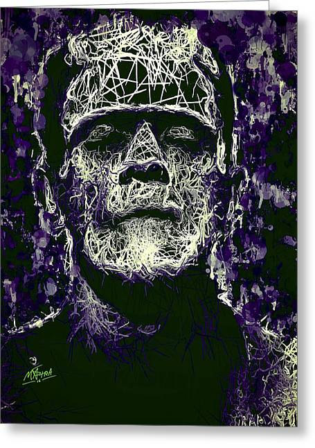 Greeting Card featuring the mixed media Frankenstein by Al Matra