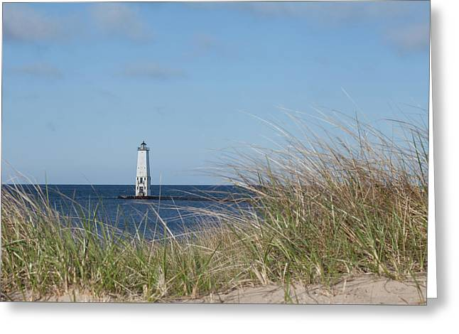 Greeting Card featuring the photograph Frankfort North Breakwater Lighthouse by Fran Riley