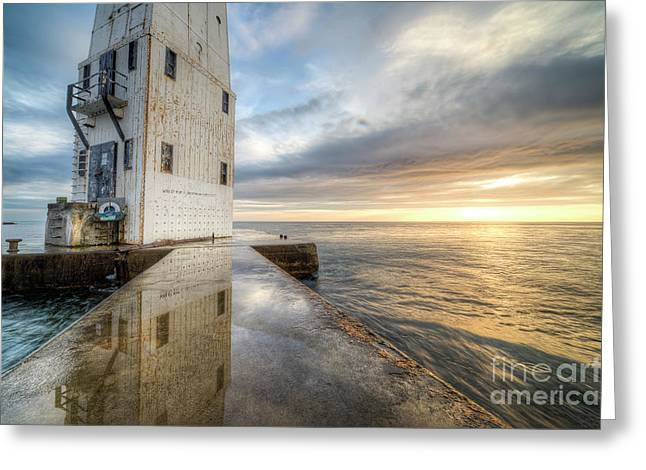 Frankfort North Breakwater Reflection Greeting Card