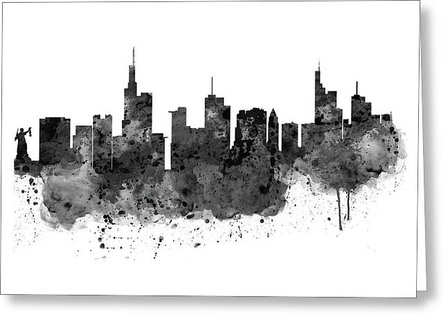 Frankfurt Black And White Skyline Greeting Card by Marian Voicu