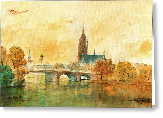 Frankfurt Cityscape With Dom Greeting Card by Juan  Bosco