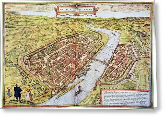 German Map Greeting Cards - Frankfurt, Germany, 1572 Greeting Card by Granger